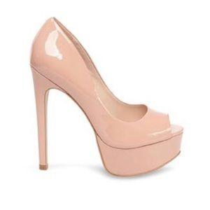 Blush patent leather open toe pumps